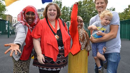 Deputy mayor of Camden Cllr Larraine Revah joins children and parents for games on the sports courts