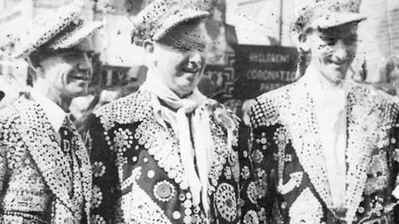 Danny's uncles, Pearly Prince Bill Hitchen (left), Pearly King of the City of London George Hitchen