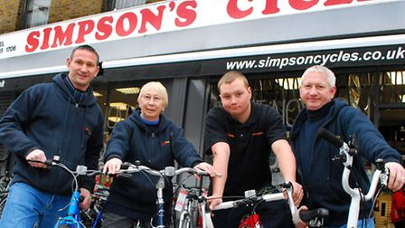 Simpson's Cycles, Malden Rd NW5. 3 generations of Simpsons from left Scott, mum Maureen, her grandso