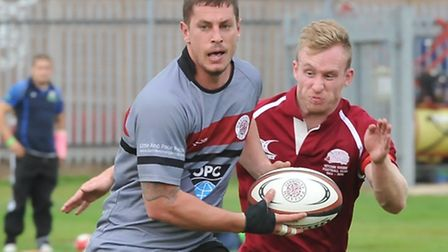 Dylan Oudshoorn (left) scored a try on his debut for UCS Old Boys. Pic: Nick Cook/UCS Old Boys