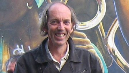 Bill Parry-Davies at the Dalston Peace Mural.