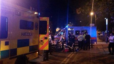 A Hatzola ambulance at the scene of the accident in Amhurst Park. Photo Betzalel Just