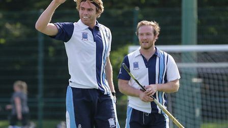 Hampstead & Westminster's Andy Hayward (left) scored a hat-trick against Canterbury, with the New Ze
