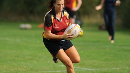 Faye Hamp crosses the try-line and dots down for one of her two scores. Pic: Paolo Minoli