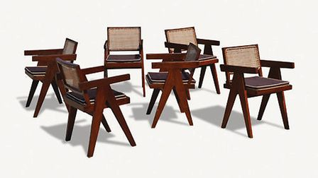 Set of six teak and cane office chairs designed by Pierre Jeanneret for the city of Chandigarh, Indi