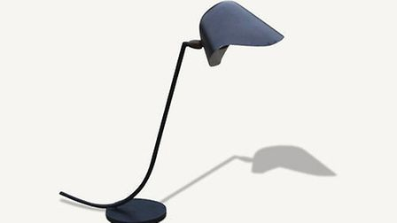 Very rare Antony desk lamp designed by Serge Mouille, manufactured by Louis Sognot. Thin black metal