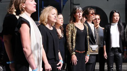 Gospel Oak Parents Choir performing outside BBC Broadcasting House. Picture: Dieter Perry.