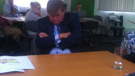 Steve Hitchins asleep at the clinical commission group's AGM last week.