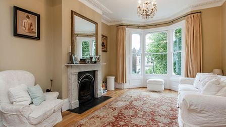 Living room at Cromwell Avenue, N6. The four bedroom terraced house is on the market for �1.85 milli