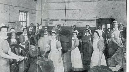 Girls in the washhouse, a photo published in a leaflet called �Refuge for the Destitute Centenary Ap