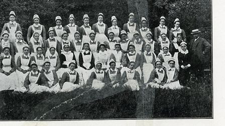 A group of girls from the refuge, in a photo published in a leaflet called �Refuge for the Destitute