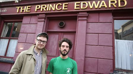 Founders of the Irish Social club Cormac Watters and Josh Clarke outisde The Prince Edward pub in Ha