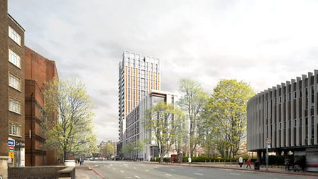The new tower pictured with Swiss Cottage Library on the right. For more pictures of the new develop