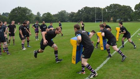 Belsize Park gear up for the new season with a hard-hitting training session. Pic: Kully Khella