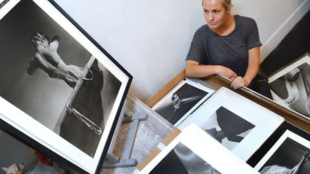 Gabrielle du Plooy with the gallery's Horst P Horst prints. Picture: Polly Hancock.