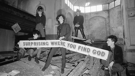 Nick Cave and the Birthday Party in disused church in Kilburn, London, UK on 22 October 1981. Pictur