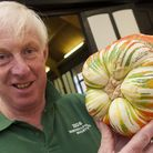 Dr Chris Page with his 'Turks Head Turban Squash' at Hampstead Garden Suburb Horticultural Society's
