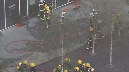 Fire fighters in Dalston Square this morning. Photo from @sarahblinco on Twitter.