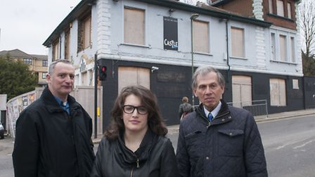 Liberal Democrat campaigners Jonathan Davies, Charlotte Henry and Cllr Jack Cohen, who hoped to save