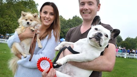 Guest judge Lucy from Made in Chelsea next to winner of the fittest dog catagory (owner Paul McDonag