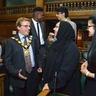 Mayor of Camden Cllr Lazzaro Pietragnoli talks with students from SOAS (from left) Farisha Khan, Lat