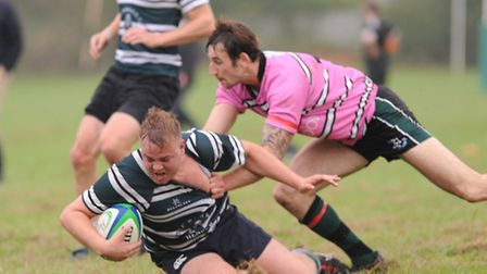 Dan Ledger crosses the try-line and grounds the ball. Pic: Paolo Minoli