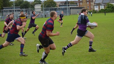 Nick Lewis (right) scored a hat-trick in Belsize Park's victory over Finchley. Pic: Kully Khella/Bel