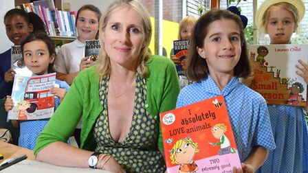 Author Lauren Child was joined by some of her fans at Primrose Hill Community Library. Picture: Poll