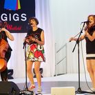 Jazz Mino (centre) played with her band, Harriet Jospeh on violin and Katt Newlon on cello