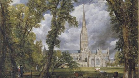 Salisbury Cathedral from the Bishops Ground, painted 1823