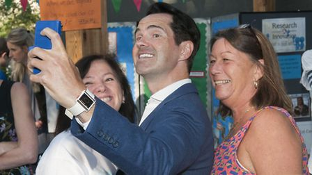 Jimmy Carr takes a selfie with fans at A Perfect Day. Picture: Nigel Sutton.
