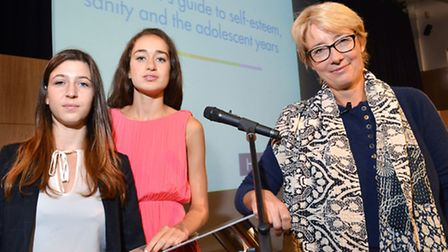 Actress Emma Thompson chairs a one day conference at Highgate School. Pictured with student speakers