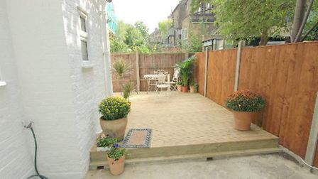 Garden of one-bedroom garden flat in West Hampstead available through rhw estates for £525,000