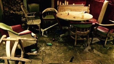 Some members of the rowdy party smashed chairs, tables and glasses, leaving the downstairs bar in a