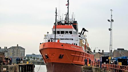 A vessel docks at Burgess Marine's shipyard at Lowestoft. Picture: James Tourgout