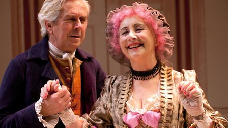 Nick Le Prevost as Sir Anthony and Gemma Jones as Mrs Malaprop in The Rivals