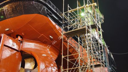 A ship on dry dock in Burgess Marine's Lowestoft shipyard. Picture: Getty Images