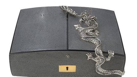 Jewellery box. Beech case covered in shagreen with ebony edging and 24k Gold plated hinges with a si