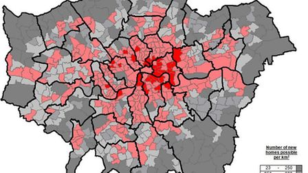 Number of potential new homes per km2. Map by Stirling Ackroyd