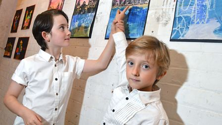 Holy Trinity and St Silas pupils Xander Russell and Luke Von Herkomer, both eight, with their artwor