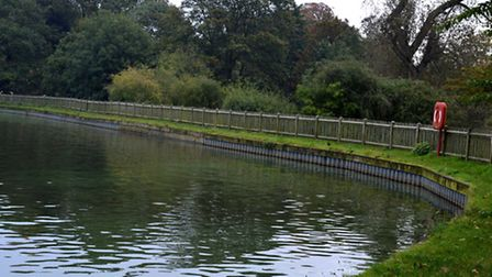 The water levels remained low at the men's pond this week. Picture: Polly Hancock