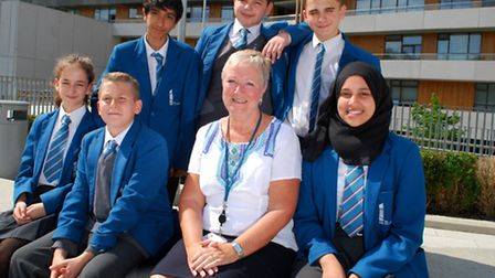 Headteacher Geraldine Davies with students at UCL Academy. Picture: Polly Hancock