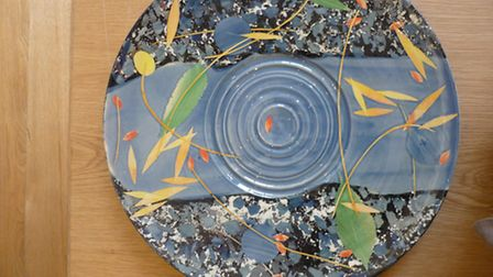 'Watery Flow' earthenware ceramic plate by Sophie MacCarthy