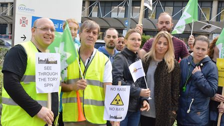 Gary Watts (second left) with fellow radiographers picketing at the Royal Free Hospital. Picture: Po