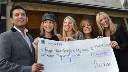 Paradise restaurant owner Wasel Ali, Natalie Appleton, Diane Ryan from the Royal Free Charity, Judy
