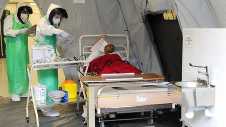 A medical exercise in York before more than 100 army medics were sent to Sierra Leone to help tackle