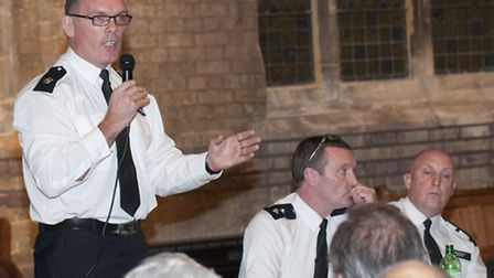 Acting borough commander Supt Richard Tucker addresses the public meeting at St Stephen's. Picture: