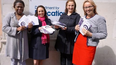 Shay Thripp, Naomi Landau, Cristina Bruno and Clare Craig submit the free school application to the