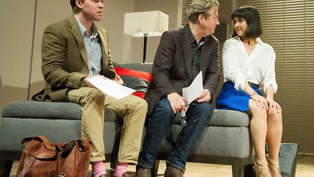 Oliver Hembrough as Douglas, Roger Allam as Leonard and Rebecca Grant as Izzy in Seminar