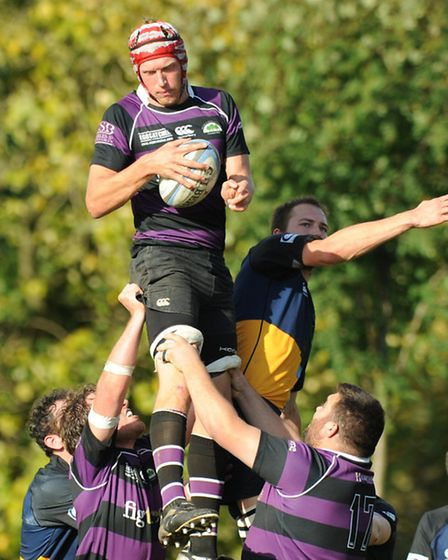 Belsize captain Tom House (pictured winning the ball at the line-out) was also on the scoresheet for